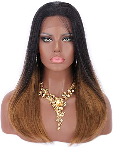 Tied Ear to Ear Lace Front Wigs for Women 2 Tones Ombre Black to Brown Premium Futura Synthetic Hair Wigs Natural Looking for Daily Wear Wigs ()