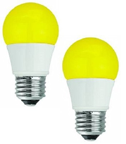 TCP 5 Watt LED Yellow Bug Light Bulbs | Energy Efficient (40W Equivalent) | A15 Yellow Bulb E26 Base | Non-Dimmable | Pack of 2
