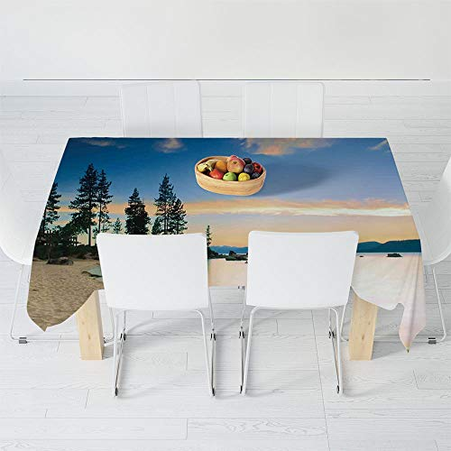 TecBillion No Fading Tablecloth,Lake House Decor,for Table Outdoor Picnic Holiday Dinner,60.2 X 40.2 Inch,Photo of Paradise Beach with Trees at