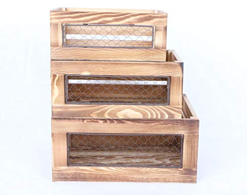 Kaite Set of 3 Wooden crates with Chicken Wire Window (Wooden Chicken Crate)