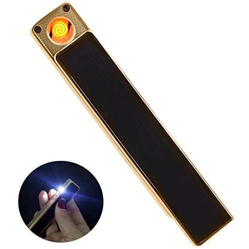 Slim Led Lighter (Windproof Cigarette Lighter with Bright LED Flashlight, USB Rechargeable Flameless Coil Slim Lighter (Black and Gold))
