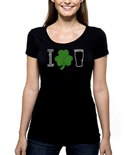 - I Shamrock Beer RHINESTONE T-Shirt Shirt Tee Bling - Love St. Patrick's Day Irish Luck Lucky Saint Drinking Pub Crawl - Pick Shirt Style - Scoop Neck V-Neck Crew Neck