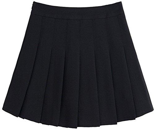 chouyatou Women's Simple High Waist All Around Pleated A-Line Skirt