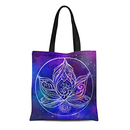 - Semtomn Cotton Canvas Tote Bag Ornamental Boho Lotus Flower Geometric for the and Stroud Reusable Shoulder Grocery Shopping Bags Handbag Printed