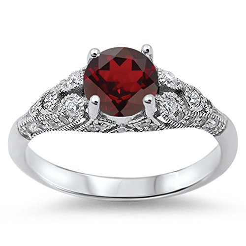 925 Sterling Silver Round Faceted Natural Genuine Red Garnet Vintage Wedding Ring Size 5