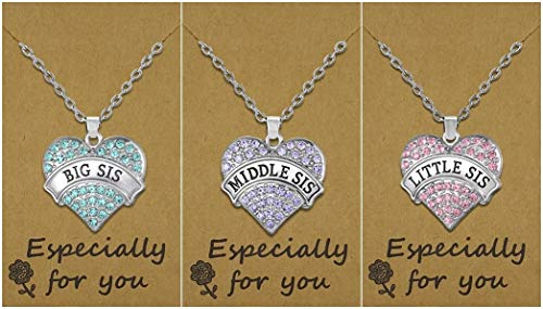 Set of 3 Big Sis, Middle Sis, Little Sis Colorful Heart Matching Necklace Jewelry Gift Set - Sister Necklaces for 3 - Stocking Stuffer Ideas for Girls
