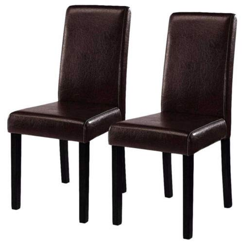 - 2pcs Elegant Leather Dining Chairs Contemporary Style Fit Home Room with Ebook