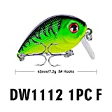 certainPL Fishing Lures Crankbaits with Treble Hook Topwater Baits, Bass Minnow Popper Walleye Baits,1.77 Inch (F)