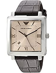 Emporio Armani Mens Dress Quartz Stainless Steel and Leather Casual Watch, Color:Brown (Model: AR11098)