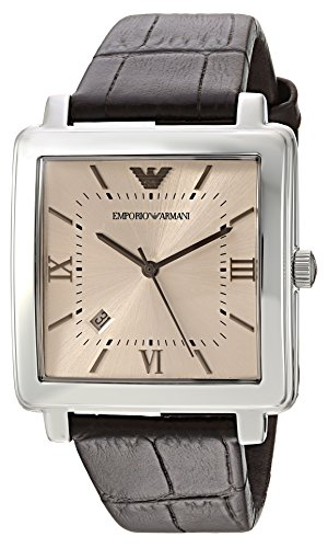 Emporio Armani Men's 'Dress' Quartz Stainless Steel and Leather Casual Watch, Color:Brown (Model: AR11098) Emporio Armani Model
