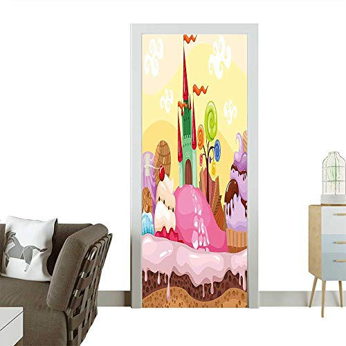Homesonne 3D Photo Door Murals Kids Sweet Castle Landscape with Donuts Muffins Ice Cream Nursery Image Sand Brown Easy to Clean and applyW23 x H70 INCH