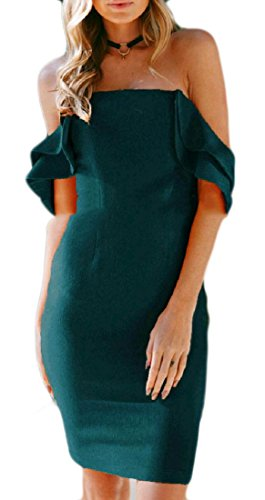 Bodycon Dress Open Solid Sexy Domple Fit Shoulder Party Off Slim Back Green Womens Cocktail T1q7wqSU