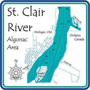 St Clair River - 1343 in Algonac, MI - Square Trivet 7 x 7 IN - Nautical chart and topographic depth - Map Clair St Square