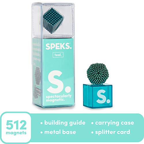Speks Magnetic Balls - Classic Teal Set of 512 (2.5mm) - Fun Stress Relief Desk Toy for Adults - Mashable Smashable Buildable