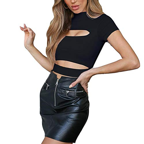 Susupeng Women Mock Neck Long Sleeve Cut Out Open Front Crop Top Tee Tops Slim Short T-Shirt (Medium, Short Sleeve Black)