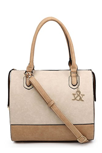 Lcolette Classic Two Tone Accented Structure Tote Bag With Strap Hna177 (tan)