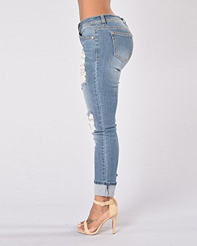 Mujer Elásticos Stretch Vaqueros Básicos Jeans Tejanos Rotos Pantalones Zarco Delgada rIRxSqwfr
