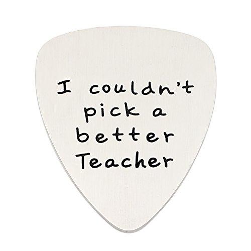 lauhonmin Teacher Gifts I Couldn't Pick a Better Teacher Guitar Pick Graduation Back to School Stainless Steel (Base)