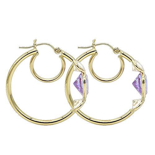 Luxurman Aleksa Earrings 14k Yellow Gold Heart, Marquise, Pear Cubic-Zirconia White,Pink,Violet CZ Hoops