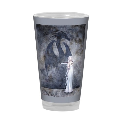 Tree-Free Greetings PG02590 Amy Brown Pint Glass, 16-Ounce, Fantasy Dragon Shadow with Fairy Artful Alehouse ()