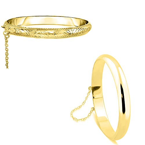 Verona Jewelers Sterling Silver 925 7MM Plain and Engraved Bangles for Women- 2 Classic Bangle Styles (Gold Bangle Set 1 Each)