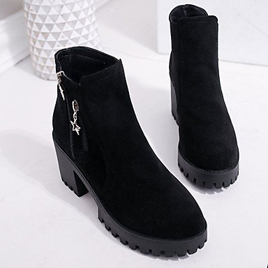 Chunky Fall CN36 Boots UK4 Heel Zipper EU36 Round For Calf Mid Toe US6 Shoes Comfort Casual Boots PU Gray Women's Fashion RTRY Black Boots fpS8g