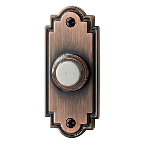 Nutone wired lighted door chime push button oil rubbed for Door bell push