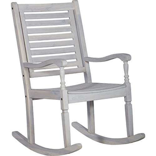 (Walker Edison Furniture Company Outdoor Wood Patio Rocking Chair - White Wash)