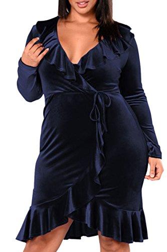 (LaSuiveur Women's Plus Size Ruffle Party Velvet Dress Wrapped Front Blue XL)