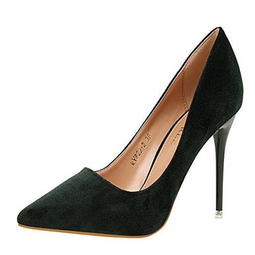 Manyis Lady New Fashion Pelle Scamosciata Poco Profonda Stiletto Scarpe A Punta Donna Tacchi Alti Pompe Colore Verde Taglia: 6
