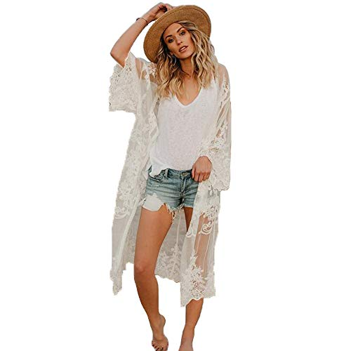 Women's Summer Blouse Loose Kimono Floral Print Cardigan Chiffon Beachwear Dress