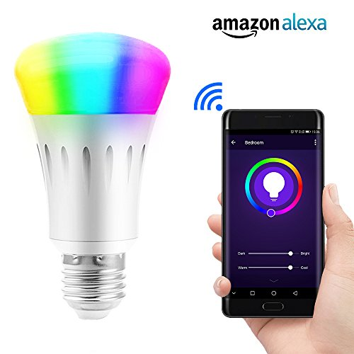 - Lvgoo WiFi Smart LED Light Bulb,Works with Amazon Echo Alexa,Smartphone Wireless Remote Control,Dimmable Multicolored Color,No Hub Required,50 W Equivalent
