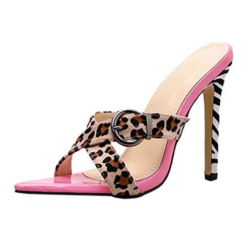 Pantoufles Sandales Rose Femmes Chaussures Stiletto Hauts Léopard Talons Sexy Party Wild Pointues YpvgpwOxq