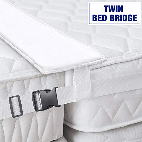 Bed Bridge Twin to King Converter Kit - Bed Doubling System, Mattress Extender Set to Fill in Gap - Memory Foam Filler Pad and Connector Strap - for Guest and Family Room (Two Twins To Make A King Bed)
