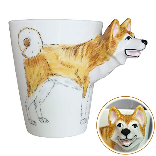 WEY&FLY 3D Coffee Dog Mug, Animals Personalized Tea Cup, Creative Hand Painted 3D Dog Mug, Gift for Lovers Kids Friends (Akita Inu)