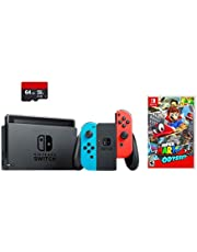 Nintendo Switch 3 items Bundle:Nintendo Switch 32GB Console Neon Red and Blue Joy-con,64GB Micro SD Memory Card and Super Mario Odyssey Game Disc(US Version, Imported)