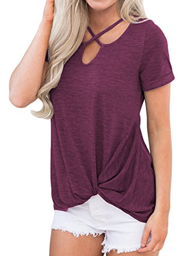 Queensheero V-Neck Short Sleeve Tops Cotton Knot Front Casual T-Shirts Tee Blouse L Wine Red ()
