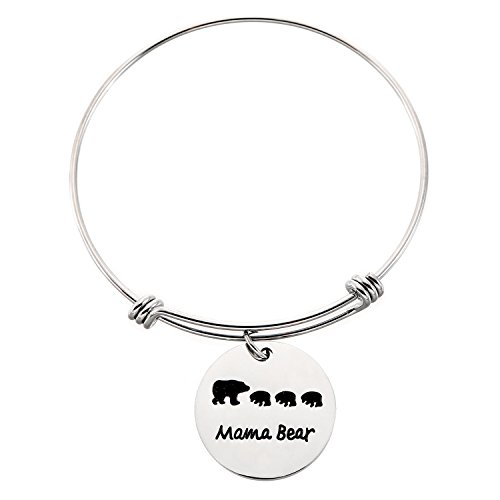 Bear Steel Stainless (Yolanda Sweet Family Mama Bear Bracelet Stainless Steel Adjustable Bangle Bracelet Mom Gifts (3 Bear Cubs))