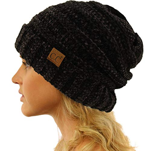 (Winter Trendy Warm Oversized Chunky Baggy Stretchy Slouchy Skully Beanie Hat Chenille Black)