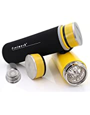 freiwerk® té Termo Botella Fabricante tamiz Tetera infusor Vidrio Doble Pared Libre de BPA Manga de Neopreno Amarillo 360ml