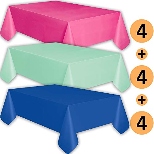 Sapphire Mint - 12 Plastic Tablecloths - Hot Pink, Mint, Sapphire Blue - Premium Thickness Disposable Table Cover, 108 x 54 Inch, 4 Each Color