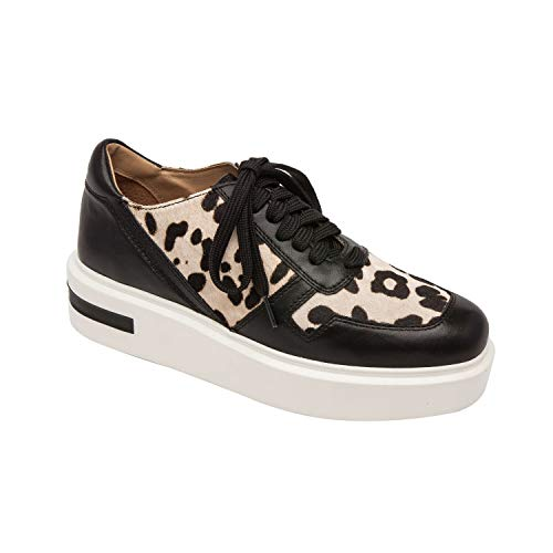 Shoes Leopard Womens Heel Inspired (Linea Paolo Kyree | Casual Menswear Inspired Lace Up High Leather Platform Sneaker White-Black Leopard Print Hair Calf/Black Nappa 9.5M)