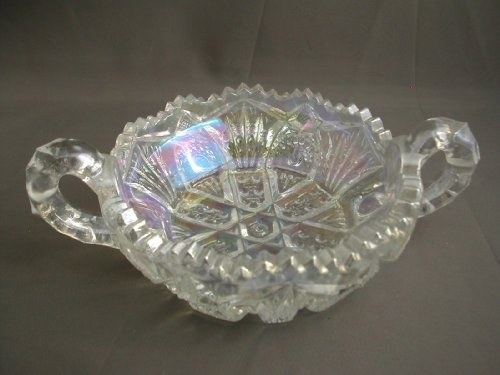 Crystal Luster Double Handled Nappy (Handled Depression Glass)