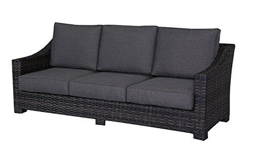Envelor Bora Bora Outdoor Patio Furniture Sofa Chair Lightweight Wicker Rattan Base Includes Charcoal Grey Olefin Cushions