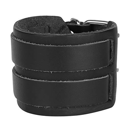 Alvivi Unisex Spike Studded Rock Punk Biker Wide Strap Leather Bracelet Gothic Rivet Buckle Wristband Arm Armor Cuff Black Type D ()