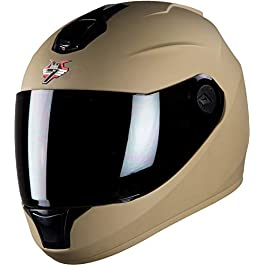 Steelbird SBH-11 7Wings Full Face Helmet (Medium 580 MM, Matt Desert Storm with Smoke Visor)