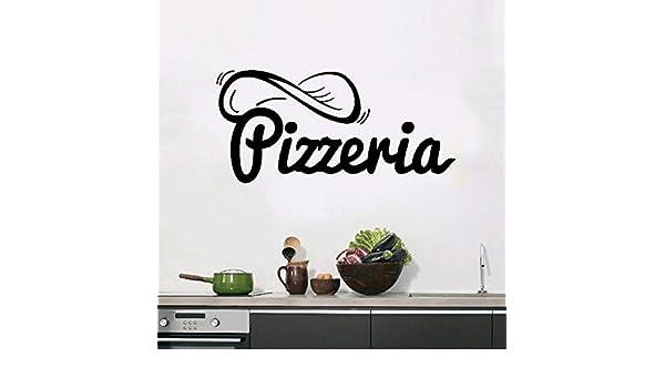 HNXDP Pegatinas Pizzería Signo Pizza Restaurante Vinilo Pegatinas de pared Calcomanías Mural Arte de la pared Papel pintado Cocina Decoración para el hogar Decoración ...