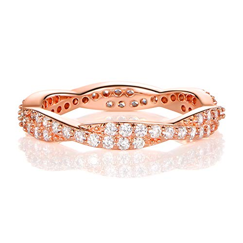 OPALBEST Rose Gold Plated Criss Cubic Zirconia Rings Band Infinity Promise for Women (6)