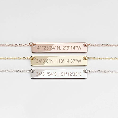 Mothers Day Gift for Her Hand Stamped Custom Coordinates Necklace in Gold Silver Rose Gold Personalized Name Initial Gifts - 4N