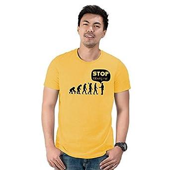 90dc4c5c Notydude Men's Cotton T-Shirt/Yellow-stopfollowing/Funny Naughty Trendy  Quotes Tshirt